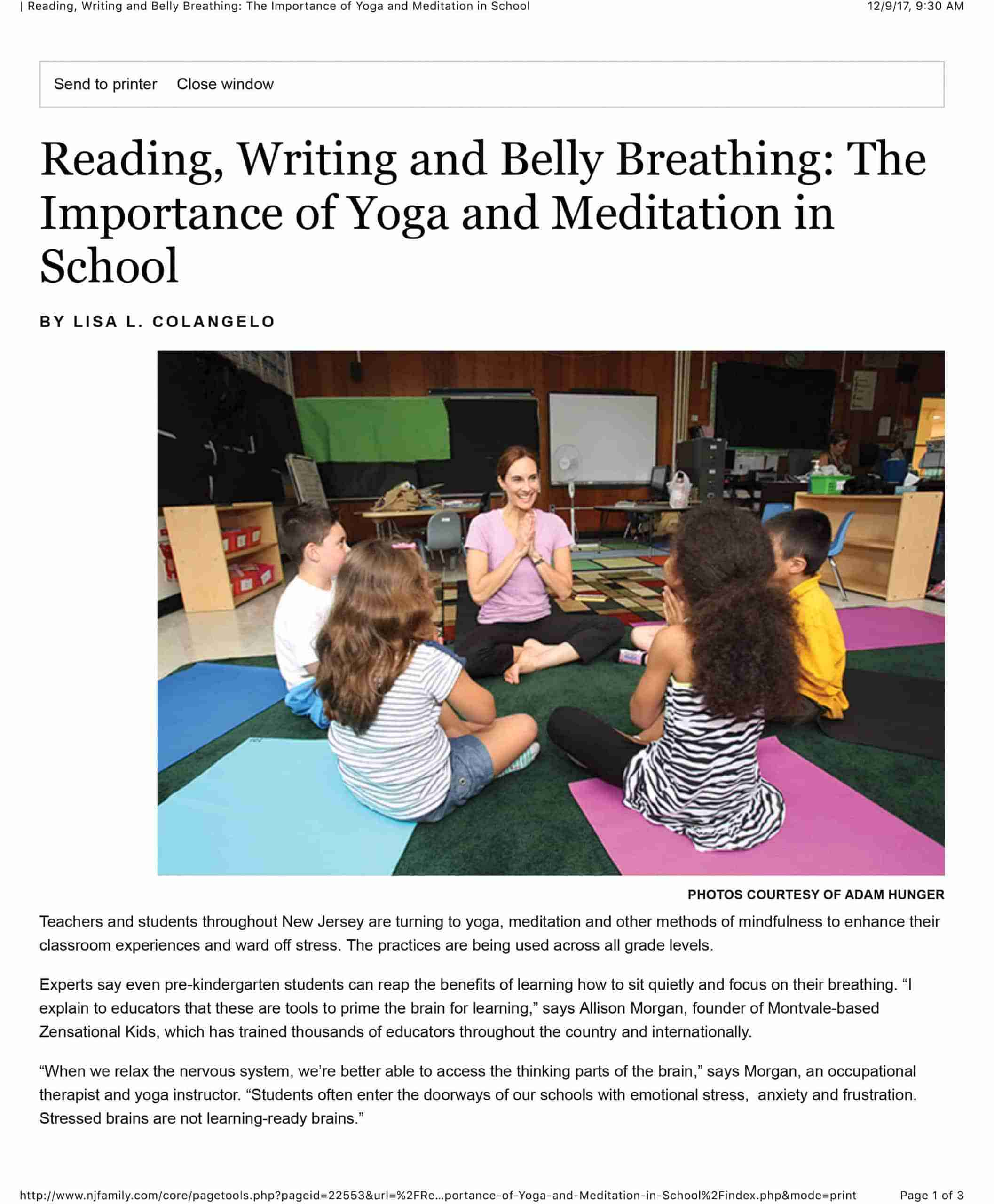 | Reading, Writing and Belly Breathing: The Importance of Yoga a